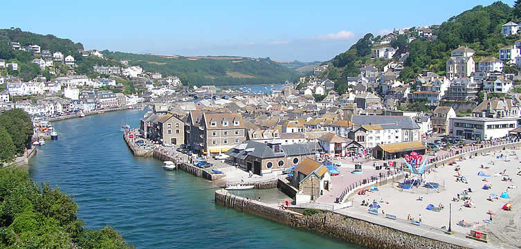 Looe beach and fishing village, Cornwall is nearby